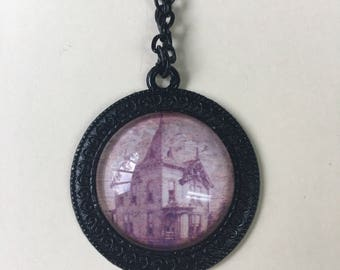 Old House, Haunted House Pendant Necklace, Halloween Jewelry, Gothic Jewelry, Black Setting and Chain, 24 inch chain, 1 in setting