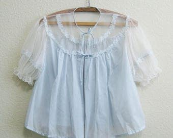 1950s Tulle Bed Jacket Light Blue with Embroidery Small Dora Gottlieb