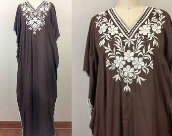 Vintage 70s Brown Floral EMBROIDERED Caftan Ethnic Maxi Dress