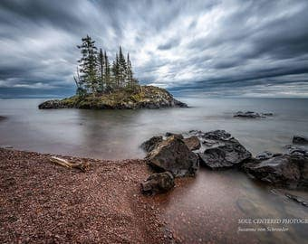 Lake Superior, Cloudy Sky, Spring Landscape, Beach, Nature Photography, North Shore Minnesota, Fine Art Print, Blue Brown, Island, Dramatic