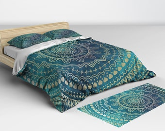 Doona Covers, Green and Gold, Mandala Doona, and Comforter Available in Twin Full Queen and King Sizes Matching Pillow Shams Available
