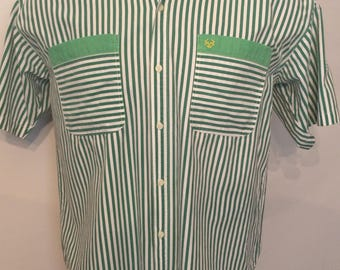 Vintage MENS 1980s Stefanel green & white striped short sleeve shirt