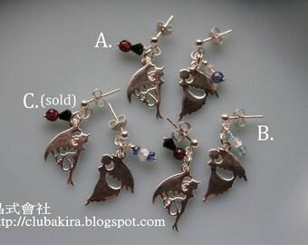 Angel or devil - Sterling earrings with gemstone dangles