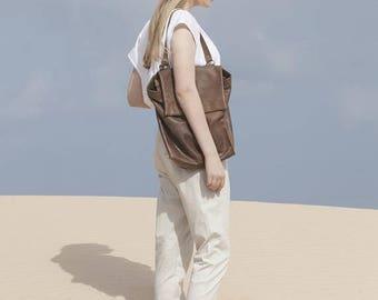 Flash Sale, Shoulder Backpack Bag, Brown Leather Backpack Purse, Student Bag, Handmade Tote Bag