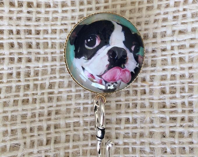 Knitting Pin - Magnetic Knitting Pin for Portuguese Knitting - Glass Holder - Name Tag Holder - Boston Terrier