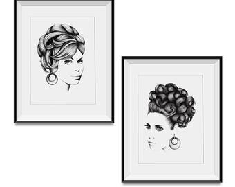 "Original hand drawn art print collection - 2 x A4 ""Ava & Grace"""