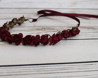 Handcrafted Burgundy Rose Flower Crown - Small Flower Crown - Adult Flower Crown - Wedding Hair Accessory - Wine Bridal Flower Crown - Halo