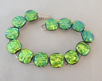 8 Inch Green Dichroic Fused Glass Bracelet, Fused Glass, Fused Glass Bracelet, Glass Bracelet, Dichroic Bracelet, Emerald Green, Green