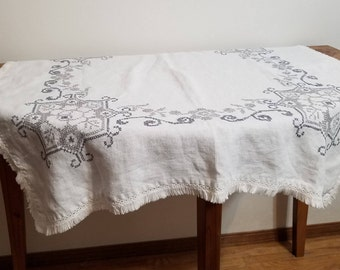 White Tablecloth Gray Embroidery Cross Stitch Small Table Cloth Vintage  Handmade