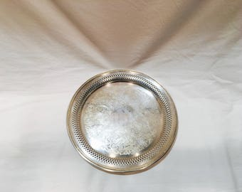 Vintage silverplated tray, Round silver serving tray, Oneida silverplated serving tray, Bar tray, Silver orderve tray, Silver tray