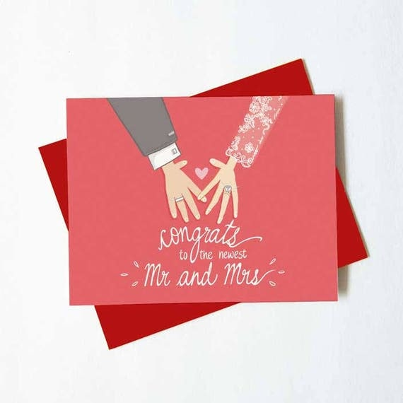 Wedding Congratulations Card Newly Weds Mr And Mrs