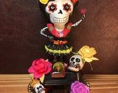 Dancing Skeleton Ornament / Day of the Dead Adornment / Dia-De-Los-Muertos-Calaca / Folk Art Catrina Doll / Solar Powered Decor