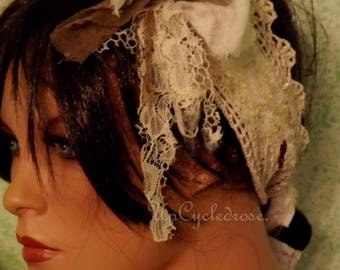 Up-cycled Rags Tattered and Torn Shabby Couture Hair Wrap Junk Gypsy Trashion