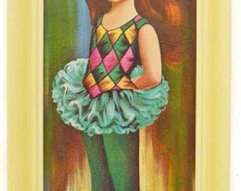 Vintage 60s Big Eye Art Moppet Ballerina Mod Kitsch Framed Lithograph Print