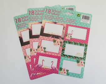 Set of 3 Sticker Sheets - 18 Label Stickers - School Labels - Planner Stickers - Flamingo Tropical Floral - Pink Green Colorful