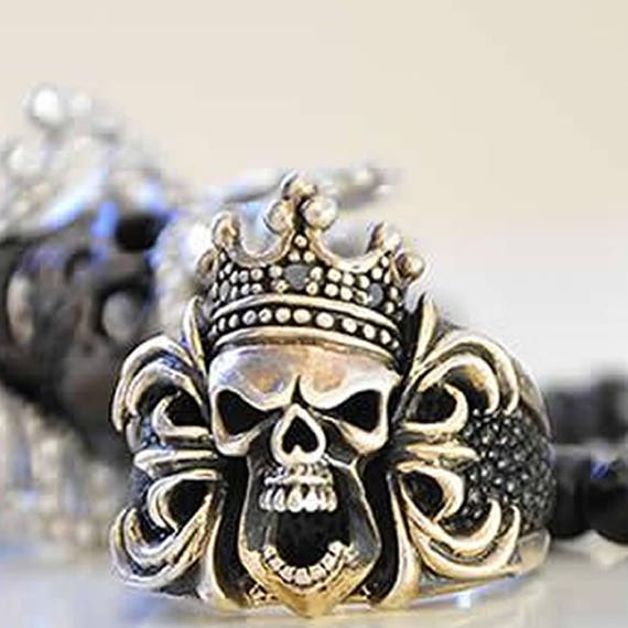 Etherial Jewelry - Rock Chic Talisman Luxury Biker Custom Handmade Artisan Pure Sterling Silver .925 Bespoke Luxury King Skull Biker Ring