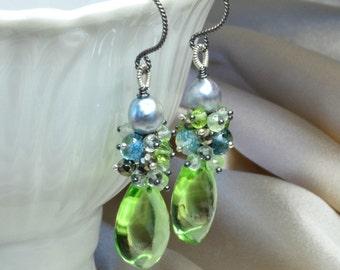 Pristine Curvy Peridot Green Quartz Earrings with Silver Akoya Pearl, Prehnite, Peridot, Pyrite and London Blue Topaz
