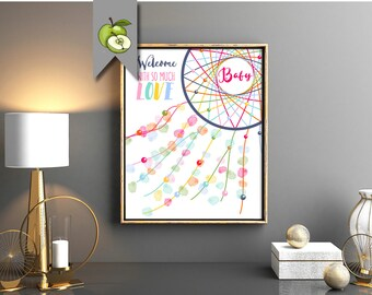 fingerprint dream catcher, baby shower, guest book, guestbook, welcome baby, new baby Printable, Thumbprint, pregnancy, nursery art