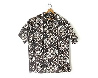 Mens Hawaiian shirt, mens shirt, tiki print, brown shirt, white shirt, men's vintage, vintage clothing, size large, 1960s shirt, 60s shirt