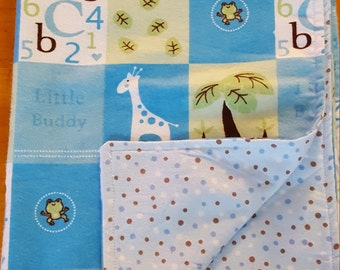 Flannel Receiving blanket, Baby shower gift, nursery blanket, blue receiving blanket, crib blanket