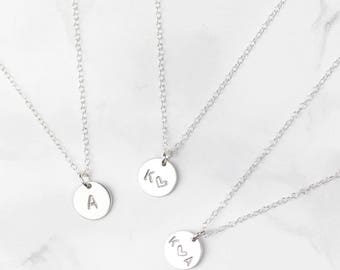 Sterling Silver Initial Necklace • Letter Necklace • Personalised Disc Necklace • Silver Initial Pendant • Personalised Disc • Initial Disc
