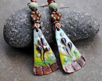 Enameled Copper Earrings, Rustic Earrings, Vintage Bohemian earrings, Artisan Copper earrings, Long Dangle Earrings, Flower earrings