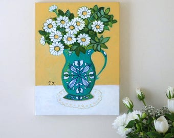 Daisy Painting, Turquoise Vase, White Daisies, Still Life, Nature Mort, White Flowers, Folk Art, Folk Vase, Yellow Painting, Floral Artwork