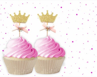 Gold Glitter Crown Cupcake Toppers With Bows - Crown Cupcake Toppers, Birthday Cupcake Topper, First Birthday Cupcake Toppers