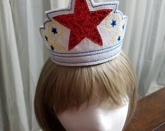 Patriotic Prince/Princess Personalized Crowns, 4th of July Crowns, American Personalized Kids Tiaras, Dress up Crowns, Kids Crowns for Play