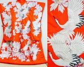 Orange red crane uchikake...