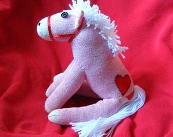 Sock Monkey Pony Horse - White Maned Pink - Heart Tattoo Stuffed Animal Toy Plush Doll Rockford Red Heel Socks