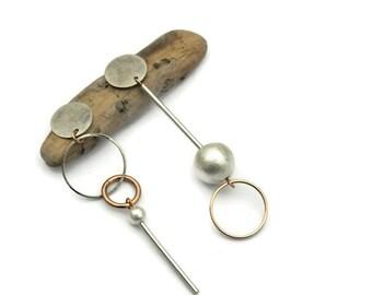 Asymmetrical earrings, Clip on earrings, Mismatched earrings, Asymmetric, Rose gold jewelry, Silver earring, Bridal stick earring, For her I