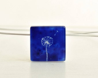 Dandelion necklace, Blue pendant, Square pendant, Nature necklace, Wish necklace, Eco friendly jewelry, Glass jewelry, Dandelion jewelry