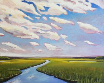 Framed Art, Scarborough Marsh, Maine Painting