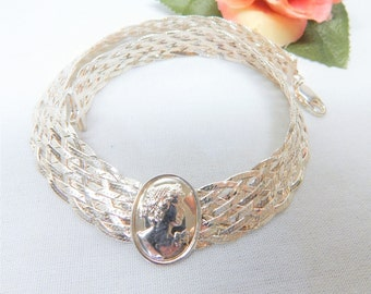 Milor Italy 925 Sterling Silver Woven Herringbone Cameo Collar Necklace