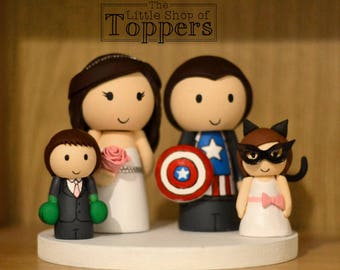 superhero family wedding cake topper custom cake topper figures wedding cake topper 20603