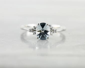 Aquamarine and Diamond Ring in White Gold, Faceted Top of Gemstone, Virginia from The Elizabeth Henry Collection H0VKDU-N
