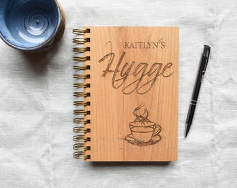 Personalized Hygge Notebook Wood. Cozy Living Gift Ideas for Her, for Best Friend, for Wife Personalized Journal.