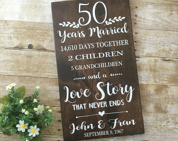 50th Anniversary, 50 Years Married, Gift for Parents, Grandparents Anniversary, Golden Anniversary