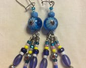 Flower beaded dangle earr...