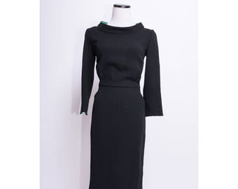 PAOLA QUADRETTI Firenze Couture 100% Wool Little Black Dress w/ Green Silk Lining