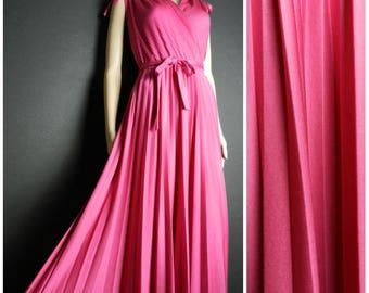 70s80s HOT pink Grecian Goddess accordion pleat maxi dress full swoop skirt drawstring shoulders U.K.