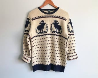 Men's Vintage J. Crew Sweater Cowichan Ivory Pullover Sweater Hand Knit Wool Chunky Pull Over Mens Winter Ski Sweater Moose Trees Size Large