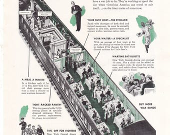 New York Central Railroad 1943 Wartime Housekeeping on Wheels WW2 Vintage Print Ad