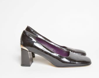 Vintage 90's Black Patent Leather Pumps with Metal Heels