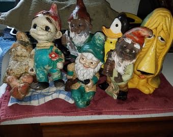 Vintage 7 Outdoor Knomes & Friends