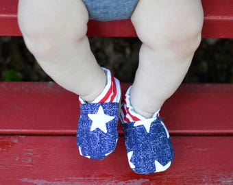 Starstruck Baby Shoes// Patriotic booties, Gender Neutral baby shoes, Toddler shoes, Soft Soled shoes, Tula Accessories,  Red White and Blue