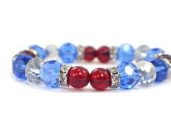 Blue and red bracelet, New England Patriots jewelry, Patriots accessories; 4th of July; Labor Day; Memorial Day