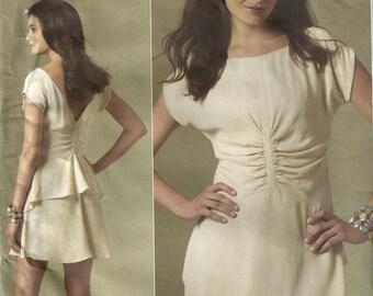 Vogue 1209 Misses Cute Gathered Back Peplum Shirred Waist Scoop Neck Dress Sewing Pattern Size 12 - 14 - 16 - 18