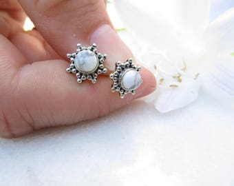 Howlite Earrings, White Turquoise Posts, White Howlite Studs, Flower Star Sun Earrings, Silver Posts, Sterling Silver Stud, Southwest Studs